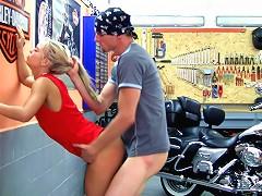 Teen star Sabrina Blond prefers fucking bikers