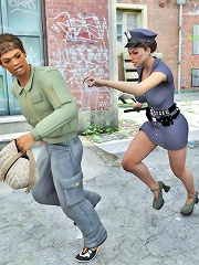 Two Police Shemales Caught A Thief Who Had Stolen A Womanish Bag. Before He Was Brought Into The Police Office, The Man ^shemale Dominate Aggressor 3d
