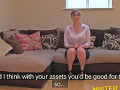 Huge Tits And Glasses Babe Gets Fucked On A Casting