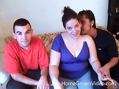 Chubby Dame Gets Two Massive Cocks To Attend To In A Thrilling Threesome