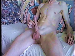 Skinny Shaved Boy Plays With Himself And S