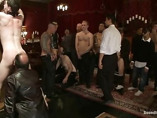 A Lewd Gay Gets Hung Up And Fucked Hard By His Buddies