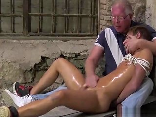 Young Roped Up Homo Receives An Oily Handjob By Old Perv