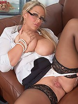 Blonde fattie in stockings seduces her customer with her glam looks and ripe juicy body