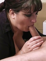 Lovely BBW slut earns herself a bonus by letting future boss fuck her tits and muff