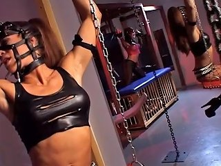 Aria With Glamorous Lesbians In A Cage Lick And Toy