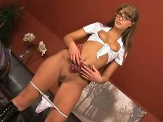 Glassed Babe In School Girl Uniform Getting Double Penetrated In Threesome