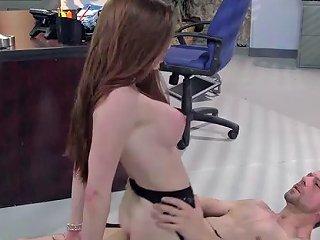 Secretary Babe In Red Lipstick And Underwear