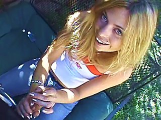 Nasty Blonde Gives A Handjob To Her Bf In  Clip