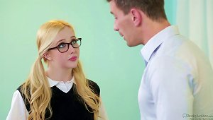 A Coed In Glasses Forgets Her Tutoring And Gets Some Dick