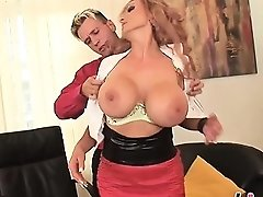 Busty Milf Sharon Pleasures A Thick Boner