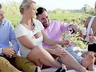 Mind Blowing Outdoor Group Sex Video Starring Hot Blooded Babe Kira Queen