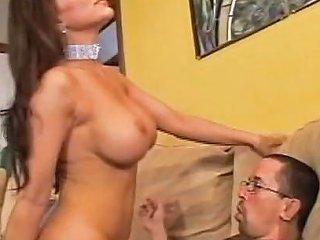 Big Titted G String Brunette Sucks Cock On Her Knees