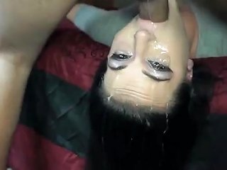 Deepthroat Whore Mercilessly Throat Banged Over Bed Camwhore