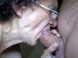 Perverted Curly Short Haired Antique Wrinkled Whore Sucks Fresh Fat Cock