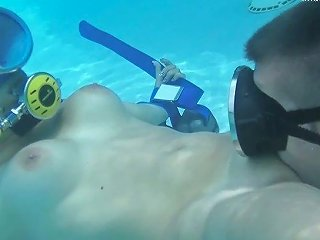 Sweet Busty Nympho Candy Gets Her Shaved Pussy Licked Right Underwater