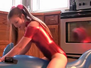 Megan Loves To Dress In Her Metallic Leotard And Grind On Pool Toys Txxx Com