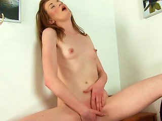 Cute Brunette Ginger Sweets Is Poking Her Anal Hole