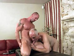 Free videos of a horny older man Jake massaging and fucking a muscle stud Mitch Vaughn