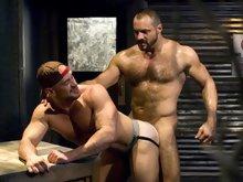 Big hairy gay bear fucks his muscle buddy doggy style