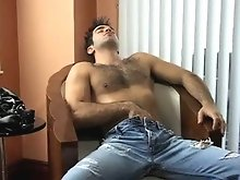 Gay muscle bear jerking off his nice cock