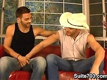 Two gay cowboys fuck hard
