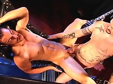 Super-hung tattooed Linus joins Damien Drake for a fucking fiesta. He slowly grinds his one-eyed monster deep into Damien�s bowels, further than this