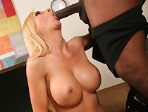 Experienced white woman seduces hung, black stud