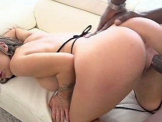 Pussy Lips Of Pretty Brunette Girl Gets Stretched By Strong Bbc