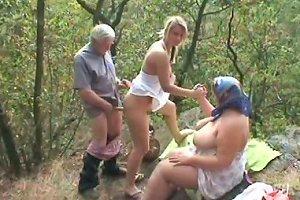 Slutty Eva Rides And Sucks The Gaffer's Dick While Old Fatso Masturbates Ffm