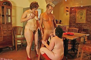 Chubby Milf And Mature Babes Share The Fit Blonde Guy