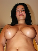 Magnificent hot nude lady with natural big melons shows off everything she has