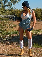 Kelly was hunting wabbits in her super short overalls and white tank.