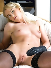 This blonde cutie is ready to play.