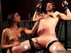 Latex-clad Dominatrix With Perky Tits Playing With A Stranger's Cock
