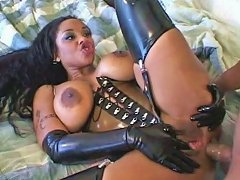 Ebony Seductress In Latex Lingerie Gets Her Ass Hole Destroyed