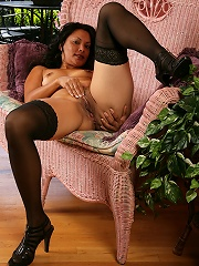 Exotic 42 year old MILF from AllOver30 posing in hot black lingerie