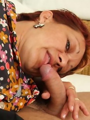 The naughty gay is his future mother in law and her old pussy is his domain today