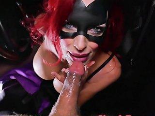 Shanda Fay Is Batgirl Blowing Big Cock In Car