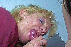 Tattooed Brunette And A Mature Blonde Slut Get Rammed