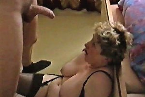 Jerking Off And Cumming All Over My Mature Bbw Wife's Big Tits