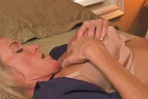 Mature Blonde Mom Finger Fucked In Arousing Lesbian Porn Scene