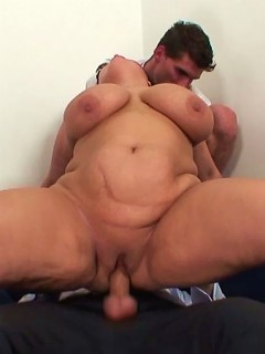 Big hard dicks diving into the mature slut and making her fat jiggle like crazy