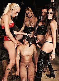 Gang of tranny dommes punish...