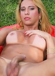 Voluptuous Brazilian tranny with a rock hard cock!