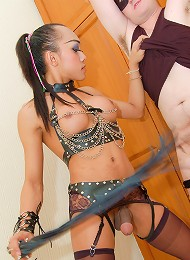 Kinky ladyboy Kip whips and fucks slave