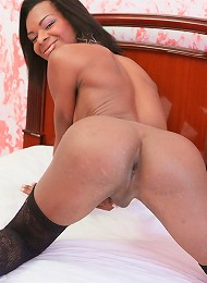 Slim black tranny with lovely puffy tits