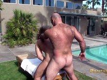 Big muscle bears fuck outdoors