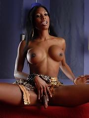 Ebony hotness Natassia Dreams posing in gold